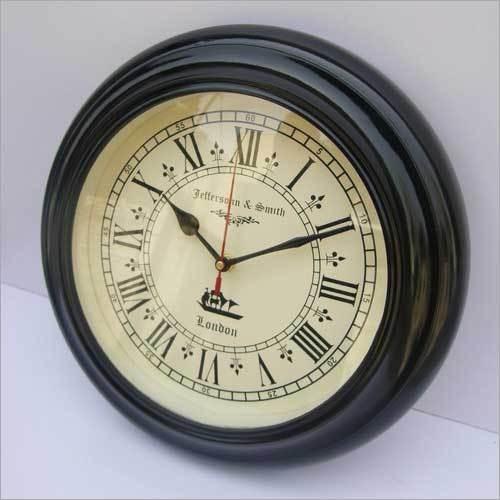 HANDMADE ANTIQUE STYLE HOMEDECOR BLACK WOODEN WALL CLOCK
