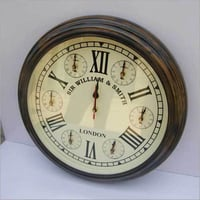 ROUND HANGING WALL CLOCK WOODEN PATTERN ROMAN NUMBERS