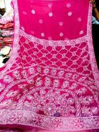 Georgette Chicken work sarees