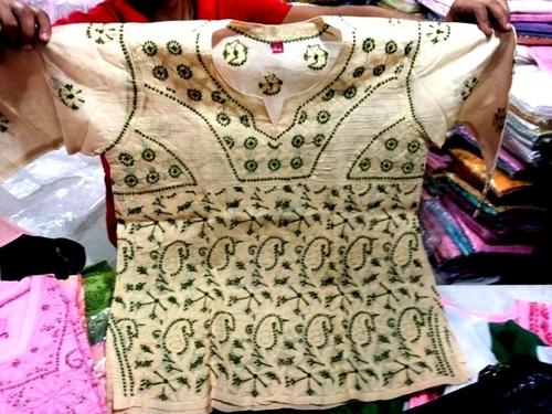 Cotton colour chiken kari work embroidery