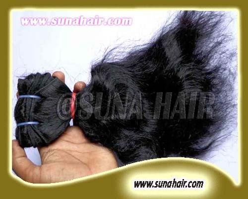 Weft silky curly  good quality peruvian pure remy human hair extension