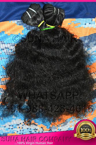 curly machine weft 100% virgin hair extension