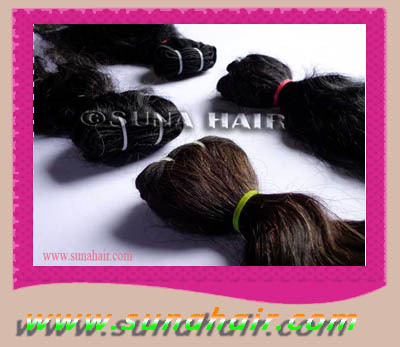 Machine weft good quality remy attractive mangolian human hair virgin hair