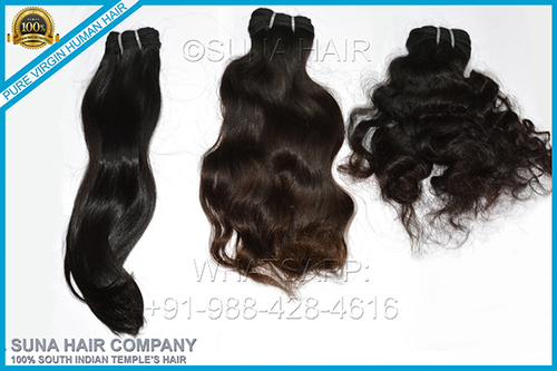 Curly virgin weft indian human hair extension