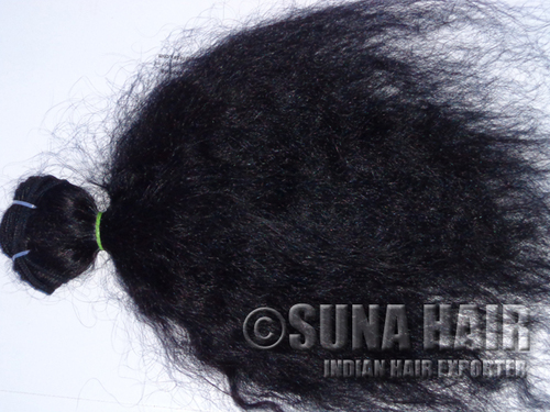 Natural good quality curly machine weft remy virgin human hair extension