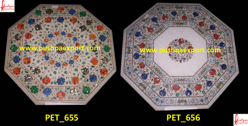 White Marble Inlay Pichakari Table Top
