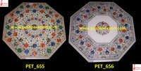 White Marble Inlay Pichakari Table Top