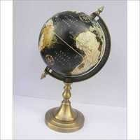 BLACK ALUMINUM WORLD GLOBE DESKTOP WITH STAND
