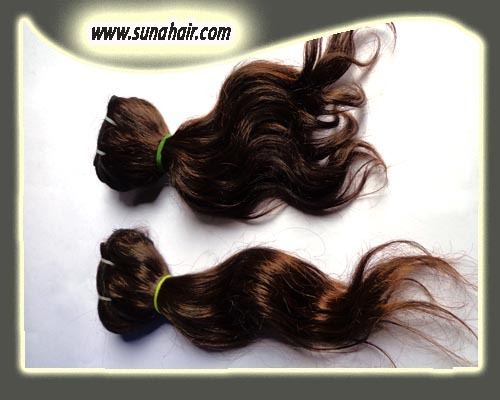 Amazing quality silky curly hair machine weft no synthetic human hair ex