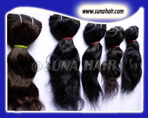Curly Indian natural hair virgin quality human hair machine weft extension