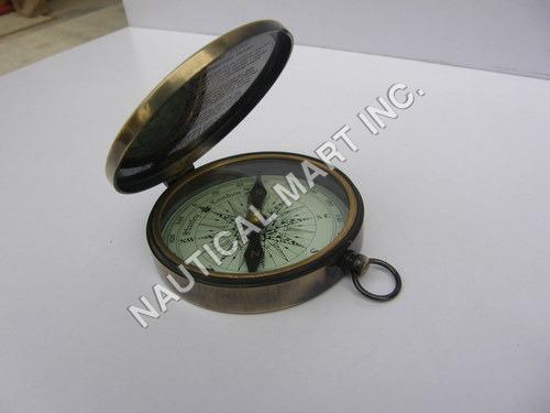 Brass Pocket Compass w/Antique FinishPush Button