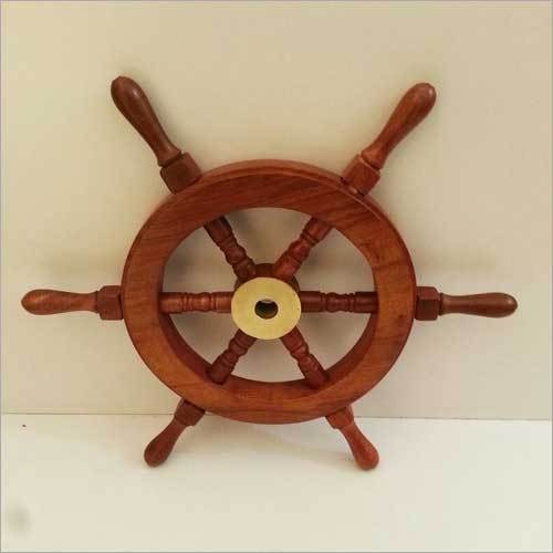 "CLASSIC WOODEN 15"" NAUTICAL SHIPWHEEL BOAT STEERIN"