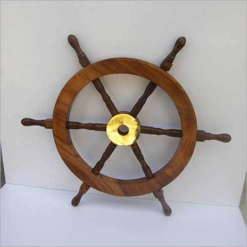 BEAUTIFUL HOME DECORATIVE TRADITIONAL STEERING SHIP WHEEL WOODEN WITH BRASS