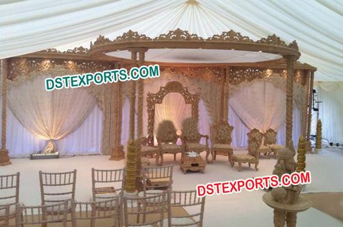 Wedding Wooden Douuble Pillar Mandaps