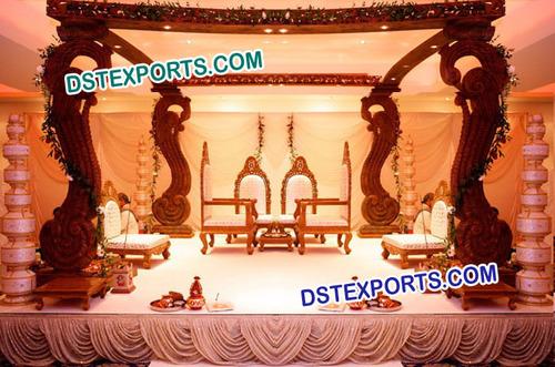 Indian Wedding Square Wooden Mandap