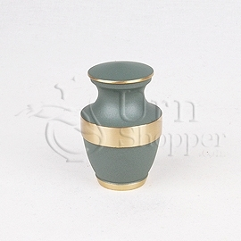 Lineas Rustic Sage Brass Metal Token Cremation Urn