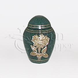 Rose Teal Brass Metal Token Cremation Urn