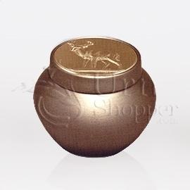 Tempus Gold with Deer Token Brass Metal Cremation Urn