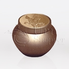 Tempus Gold with Eagle Token Brass Metal Cremation Urn