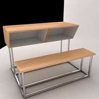 3 Seater SS desk Bench