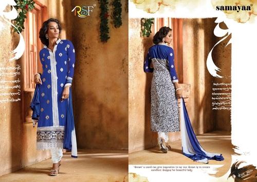 Blue Printed & Embroidered Salwar Kameez