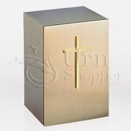 Cross Bronze Metal Keepsake Cremation Urn