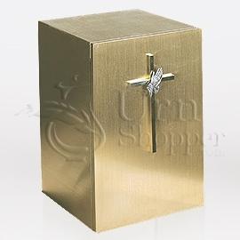 Cross with Praying Hands Bronze Metal Keepsake Cremation Urn