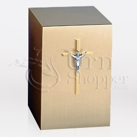 Crucifix Bronze Metal Keepsake Cremation Urn