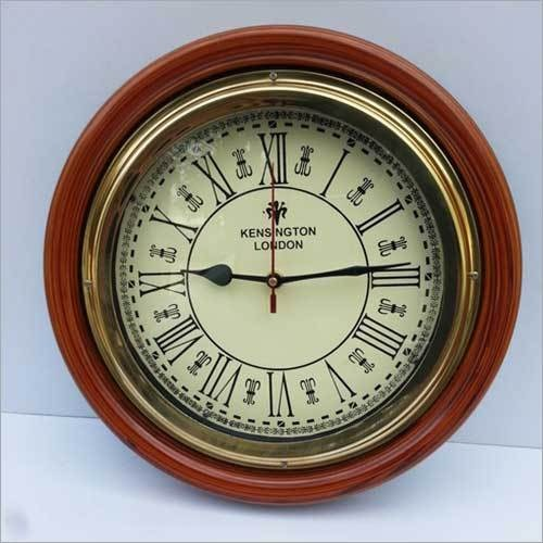ANTIQUE STYLE ROUND WALL CLOCK WITH WOODEN FRAME