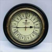 ANTIQUE STYLE ROUND HANGING BLACK WALL CLOCK WITH WOODEN FRAME