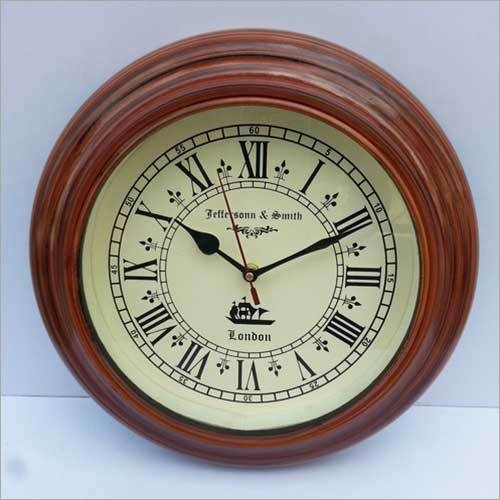 "BEAUTIFUL 11.5""ANTIQUE STYLE ROUND HANGING WALL CLOCK WITH WOODEN FRAME"