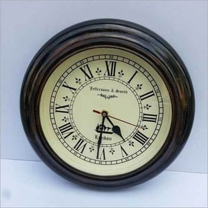 BEAUTIFUL 11.5a  ANTIQUE STYLE ROUND HANGING DARK BROWN WALL CLOCK