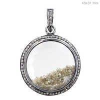 Crystal Diamond Silver Pendant