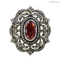 Pink Tourmaline Diamond Silver Ring
