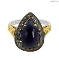 Sapphire Diamond Silver Ring