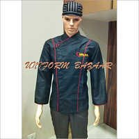 Red Piping Black Chef Coat