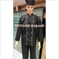 Black Chef Coat with Yellow Piping