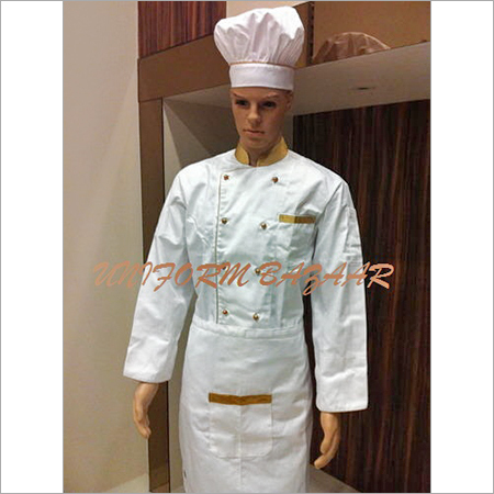 Golden Piping White Chef Coat