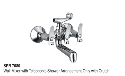 Wall mixer telephonic arrangement only with crutch