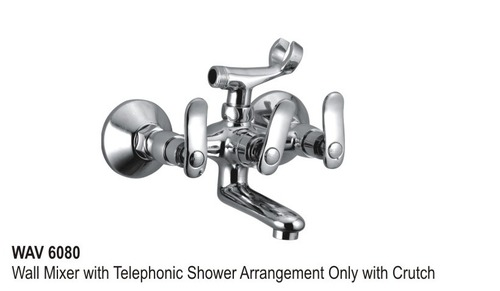 Wall mixer telephonic arrangement only with crutc