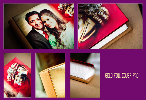 Gold Foil Cover Pad Digital Picture Albums
