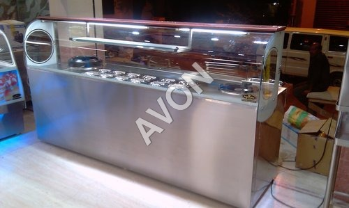 Hot food Warmer with burner range counter Display