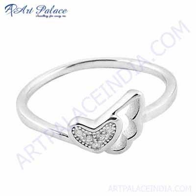 Attractive Cubic Zirconia Silver Round Ring
