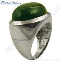Party Wear Green Onyx Gemstone Silver Ring