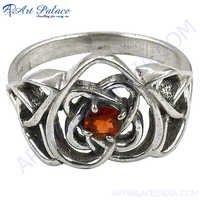 Designer Heart Shape Garnet  Silver Ring
