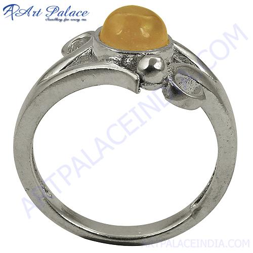 Stylist Rosequartz Silver Round Ring