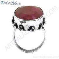 Party Wear Dyed Ruby Stone Silver Ring