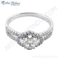 925 Silver Cubic Zirconia Round Ring