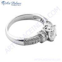 Designer Cubic Zirconia Stone Silver Ring