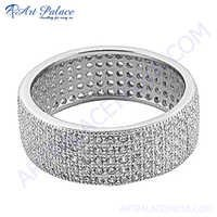 Attractive Cubic Zirconia Silver Round Ring